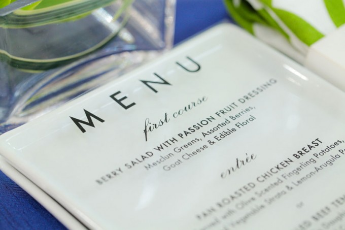 Sweetchic green modern fresh tablescape hinojosa photography. loft. see thru menu card close up
