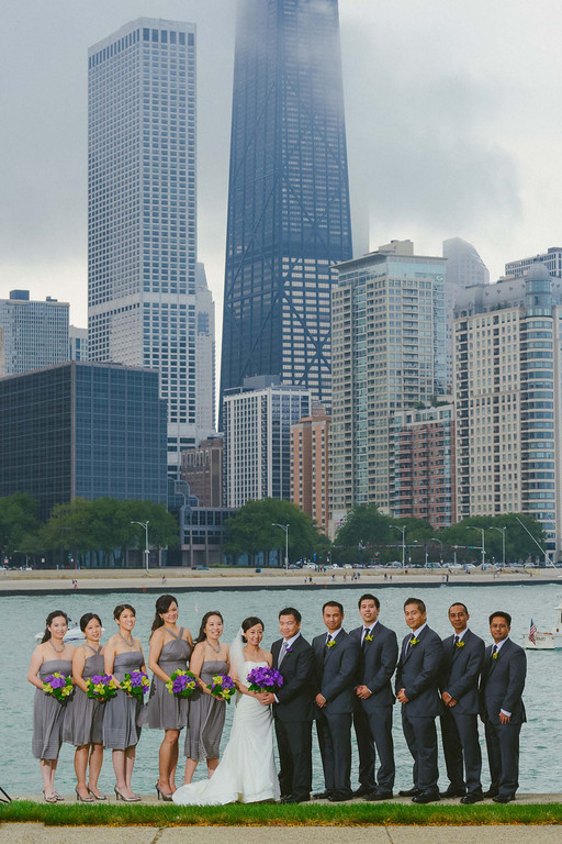 Fragola Productions. Sweetchic Events. Bridal Party Chicago Skyline. Milton Olive Park