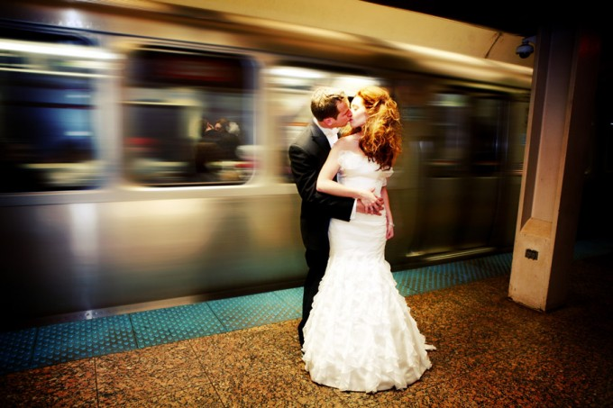 Chicago El stop wedding photo JessFoto. Sweetchic Events