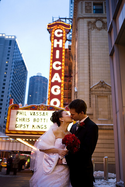 Chicago Wedding.  Wes Craft Photography . Chicago Theater Sign.