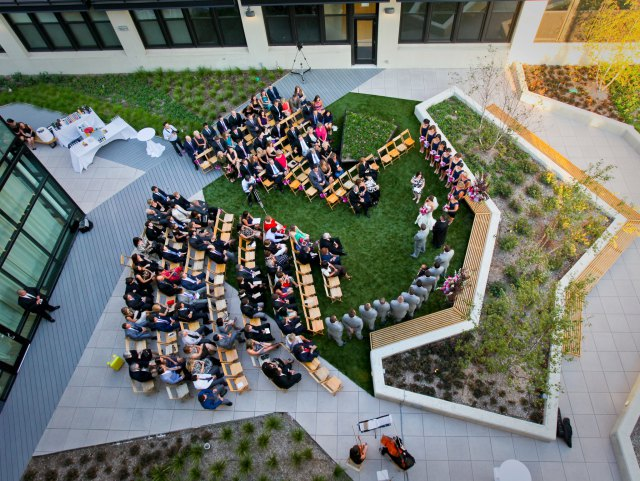ceremony outside  Greenhouse Lofts