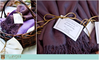 Wedding pashmina shawl basket