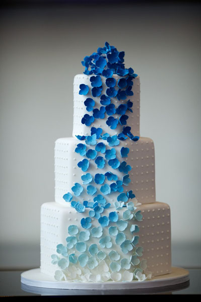 Chicago Illuminating Company. David Wittig Photography. Sweetchic Events. Amy Beck Cake Design. White Wedding Cake with Blue Ombre Flower Waterfall.