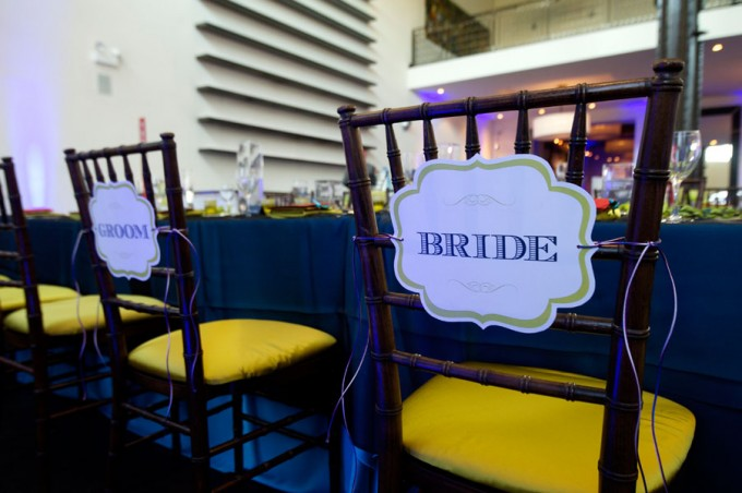 Chicago Illuminating Company. David Wittig Photography. Sweetchic Events. Bride and Groom Chair Signs