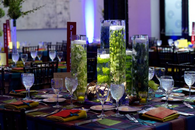 Chicago Illuminating Company. David Wittig Photography. Sweetchic Events. Scarlet Petal. Glass vessels with submerged. Green Spider Mums. Green Hydrangea.