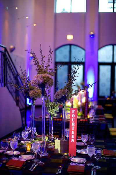 Chicago Illuminating Company. David Wittig Photography. Sweetchic Events. Scarlet Petal. Tall Glass Vessel Centerpiece. White Hydrangea, Green Spider Mums.