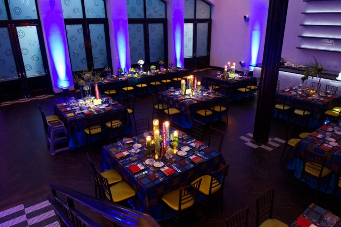 Chicago Illuminating Company. David Wittig Photography. Sweetchic Events. Scarlet Petal. Wedding Reception. Dramatic Blue Uplighting. Square Tables.
