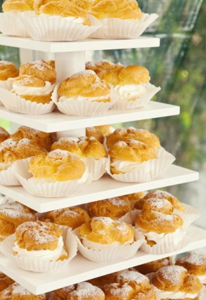 Cream puff tower -  Mirelle Carmichael Photography  via  Style Me Pretty