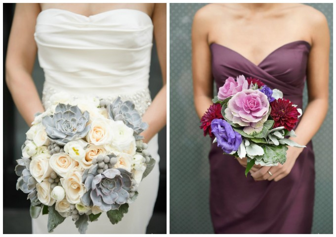 Sweetchic Events. Flower Firm. Averyhouse Rose and Succulent Brial Bouquet. Merlot Dahlias and Purple Kale Bridesmaids Bouquet