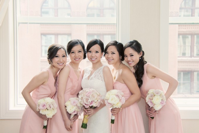 10.  Rookery Wedding. Kevin Le Photography. Sweetchic Events. Vale of Enna. Blush Pink Bridesmaids Dresses. White and Ivory Rose with Pale Pink Rose Accent Bouquets.