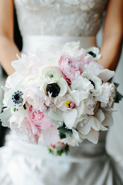 10. Trump Tower Wedding. Pen Carlson Photography. Sweetchic Events. Vale of Enna. White Anenome, Blush Rununculus and Peonies, White Garden Rose Bride's Bouquet.