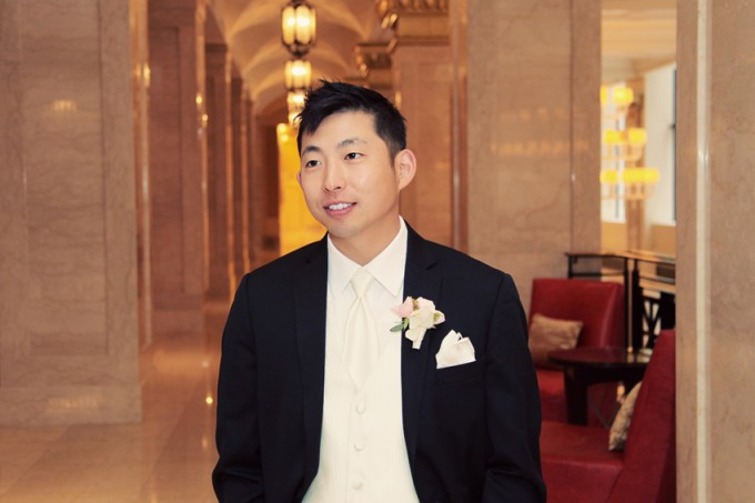 12.  Rookery Wedding. Kevin Le Photography. Sweetchic Events. Vale of Enna. Groom waiting for First Look. Pale pink ranunuculus and stephanotis with pearls boutonniere.