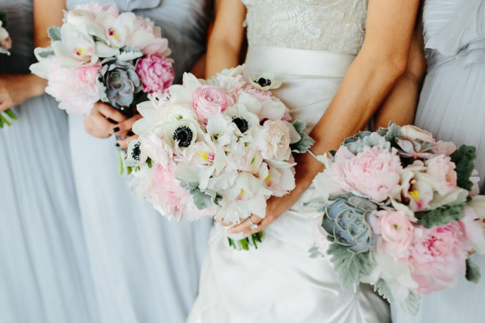 13. Trump Tower Wedding. Pen Carlson Photography. Sweetchic Events. Vale of Enna. Green Succulent, Blush Peony and Ranunculus Bridesmaids Bouquets.