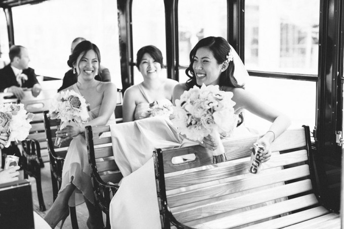 14. Trump Tower Wedding. Pen Carlson Photography. Sweetchic Events. Bride and Bridesmaids on Trolley.