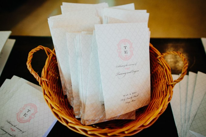 15. Trump Tower Wedding. Pen Carlson Photography. Sweetchic Events. Pink and Grey Ceremony Programs.