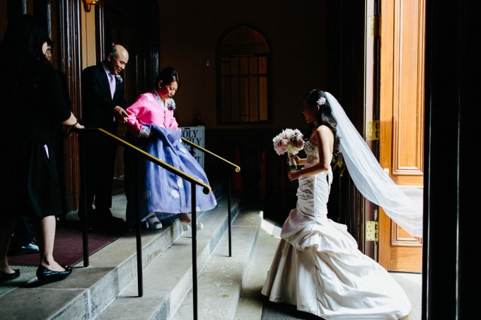 17. Trump Tower Wedding. Pen Carlson Photography. Sweetchic Events. Bride walking into Holy Family Church.