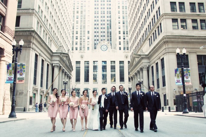 18. Rookery Wedding. Kevin Le Photography. Sweetchic Events. Bridal Party outside of Board of Trade.