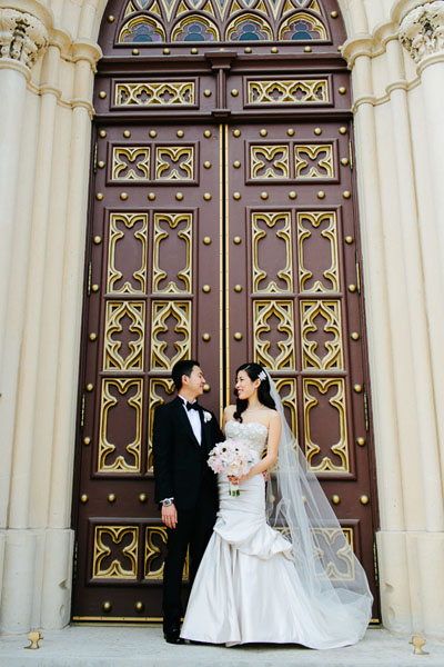 30. Trump Tower Wedding. Pen Carlson Photography. Sweetchic Events. Bride and Groom outside Holy Family Church.