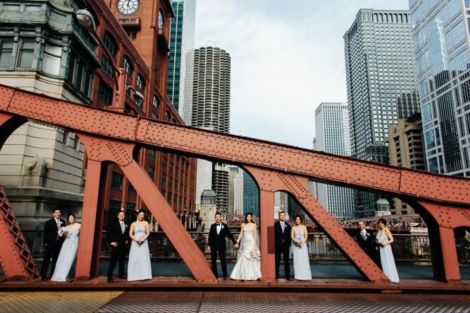 32. Trump Tower Wedding. Pen Carlson Photography. Sweetchic Events. Bridal Party on Clark Street Bridge.
