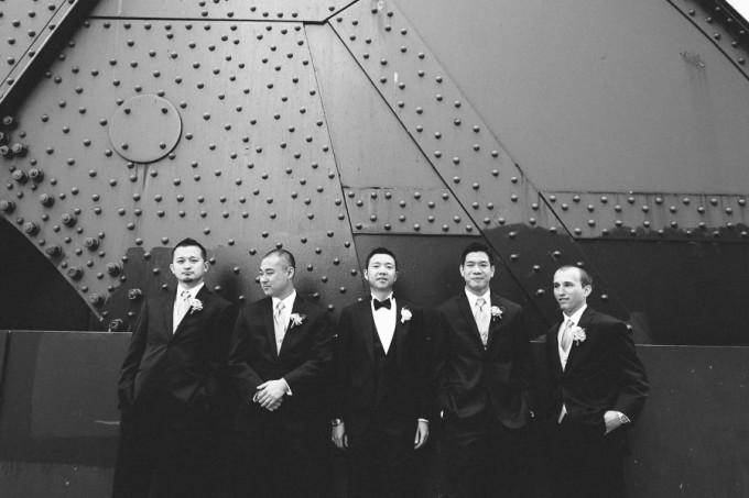 33. Trump Tower Wedding. Pen Carlson Photography. Sweetchic Events. Groomsmen on Clark Street Bridge.