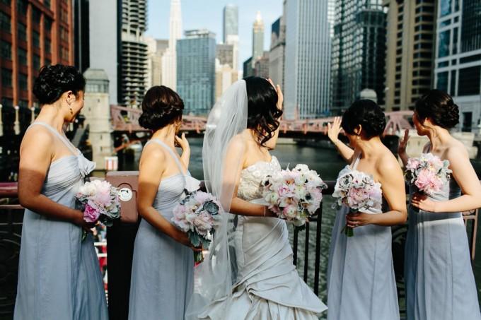 34. Trump Tower Wedding. Pen Carlson Photography. Sweetchic Events. Bridesmaids on Clark Street Bridge