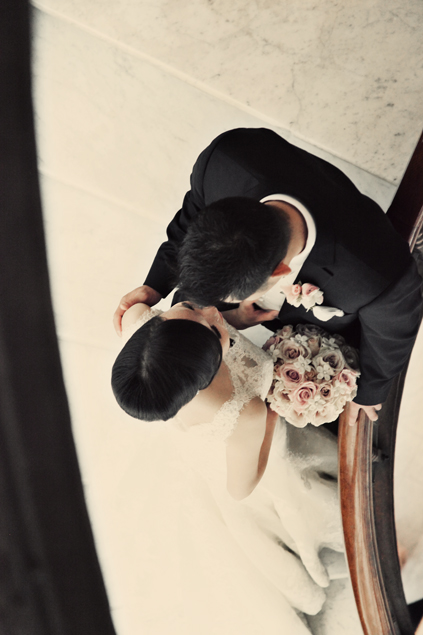 35. Rookery Wedding. Kevin Le Photography. Sweetchic Events. Bride and Groom on Rookery Staircase. Shot from above.