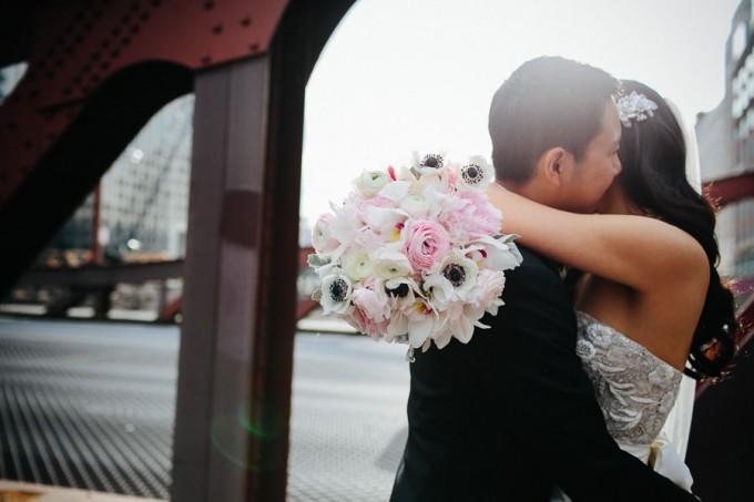 37. Trump Tower Wedding. Pen Carlson Photography. Sweetchic Events. Bride and Groom on Clark Street Bridge.