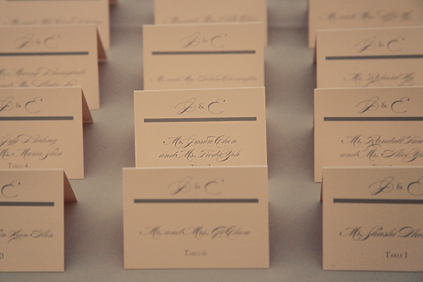 38. Rookery Wedding. Kevin Le Photography. Sweetchic Events. Gray and Pale Pink Escort Cards.