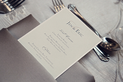 41. Rookery Wedding. Kevin Le Photography. Sweetchic Events. Classic Pocket Menu inside Silver Linens.