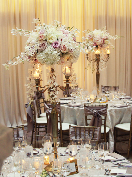 42. Rookery Wedding. Kevin Le Photography. Sweetchic Events. Vale of Enna. Gold Candelabrum Centerpieces with Ivory Hydrangeas, Blush and Ivory Peonies, Roses, and orchid