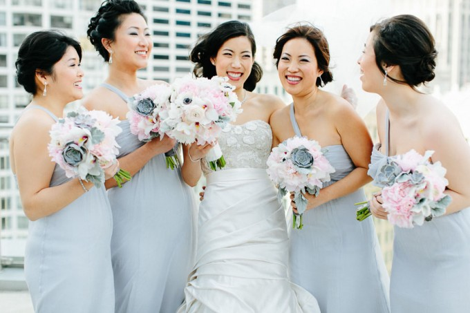 42. Trump Tower Wedding. Pen Carlson Photography. Sweetchic Events. Vale of Enna. Trump Tower Terrace. Light Grey Bridesmaid Dresses. Blush Pink ,Grey and white Bouquets.