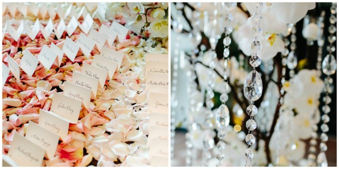 45. Trump. Pen Carlson Photography. Sweetchic Events. Vale of Enna. Manzanita Branch Escort Card Arrangement with Ombre Petals, Hanging Crystals, Pink and White  Orchids.
