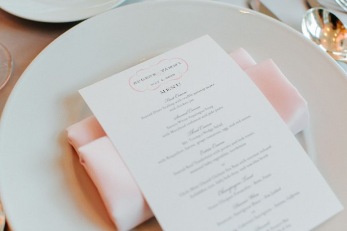 51. Trump Tower Wedding. Pen Carlson Photography. Sweetchic Events. Pink and Grey Menus. Blush Pink Napkin.