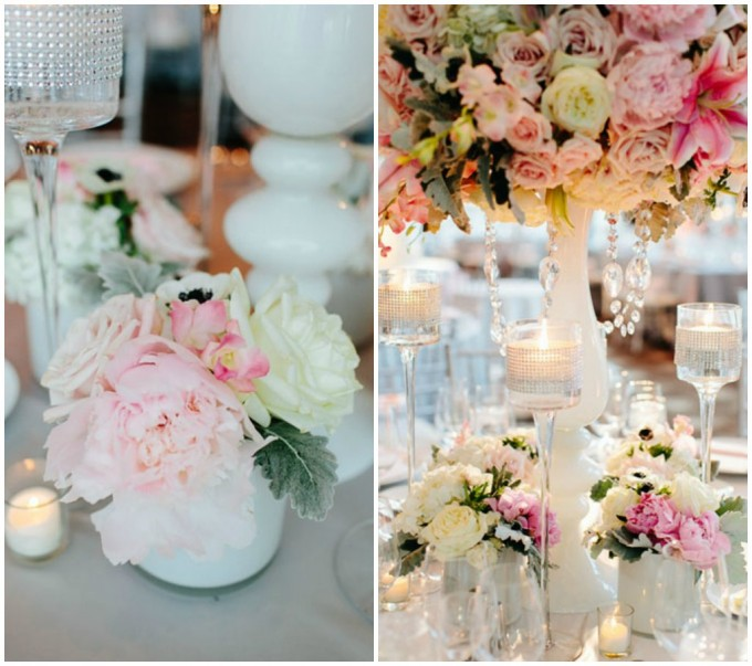 53.Trump Wedding. Pen Carlson Photography. Sweetchic Events. Vale of Enna. Elegant Ivory and Blush Pink Peony, Rose Centerpiece in Milk Glass Vase. Rhinestone Candle Holders.