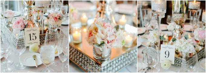 54. Trump. Pen Carlson Photography. Sweetchic Events. Vale of Enna. Black and White Elegant Table Numbers. Tall Stem Candle Holders with Rhinestones. Blush Pink Florals.
