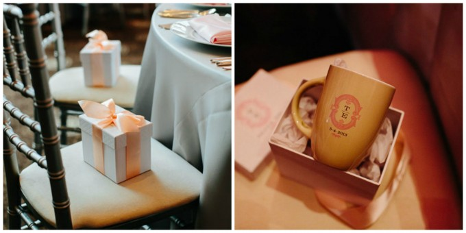 56. rump Tower Wedding. Pen Carlson Photography. Sweetchic Events. Pink and Grey Monogrammed Mugs. Favors.