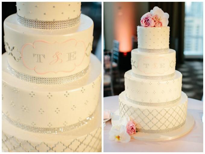57. Trump Tower Wedding. Pen Carlson Photography. Sweetchic Events. White, Plush Pink, and Rhinestone Wedding Cake.