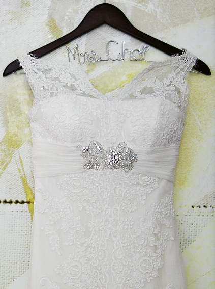 6. Rookery Wedding. Kevin Le Photography. Sweetchic Events. Bride's lace dress with personalized hanger.