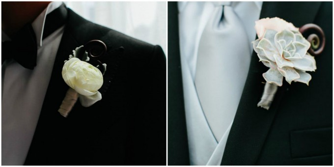 6. Trump Tower Wedding. Pen Carlson Photography. Sweetchic Events. Vale of Enna. Groom's White Ranuncuclus Boutonniere. Groomsmen Green Mini Succulent Boutonniere.