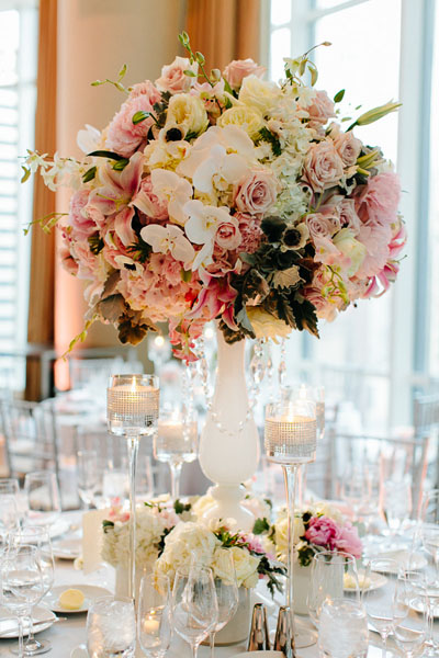 61. Trump Tower Wedding. Pen Carlson Photography. Sweetchic Events. Vale of Enna. White Filial Vase with White Blush Pink Hydrangea,Peonies. Roses, Lillies, Orchids.