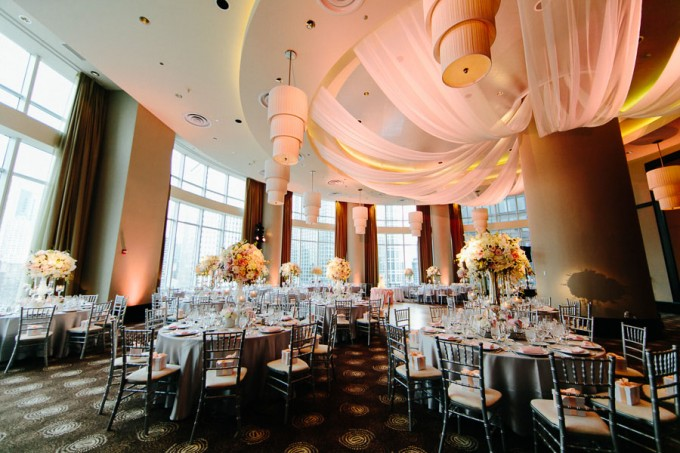 64. Trump Tower Wedding. Pen Carlson Photography. Sweetchic Events. Frost Lighting. Elegant Gray and Blush Pink Wedding Reception. Blush Pink Fabric Ceiling Drapery.