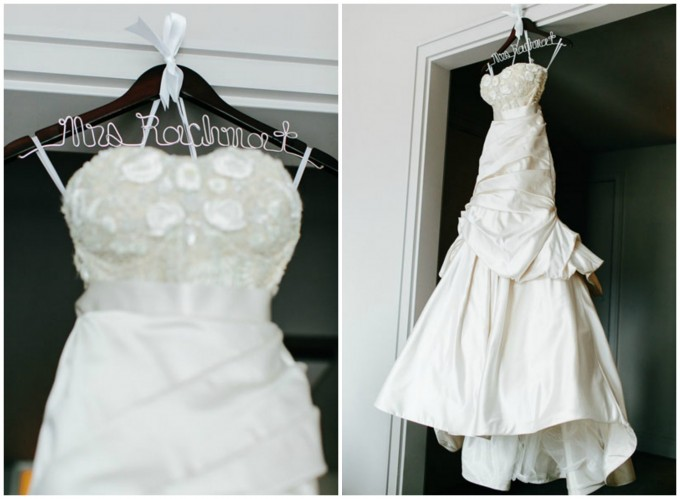 7. Trump Tower Wedding. Pen Carlson Photography. Sweetchic Events. Bride's Dress. Personalized Hanger.