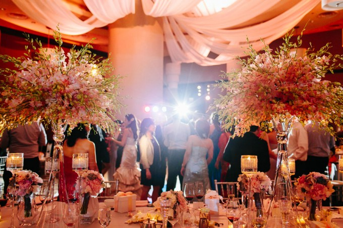 97. Trump Tower Wedding. Pen Carlson Photography. Sweetchic Events. Frost Lighting. Vale of Enna. Blush Pink Uplighting. Blush Pink Ceiling Drapery.