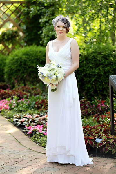 11. Chicago Botanic Garden Wedding. Life on Prints. Sweetchic Events. Exquisite Designs. Bride in custom made gown. Bouquet of white peonies, blue scabiosa, blue muscari.