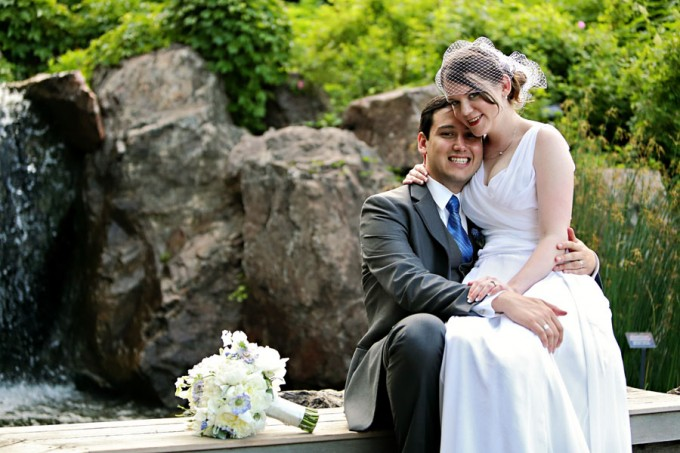 13. Chicago Botanic Garden Wedding. Life on Prints. Sweetchic Events. Bride and Groom by waterfall.