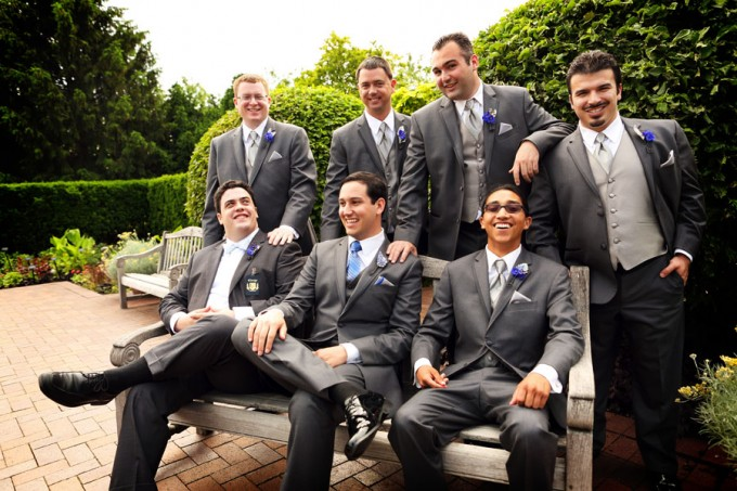 15. Chicago Botanic Garden Wedding. Life on Prints. Sweetchic Events. Exquisite Designs. Groomsmen in Grey Suits wth Blue Ties and Blue Boutonniere with Dusty Miller.