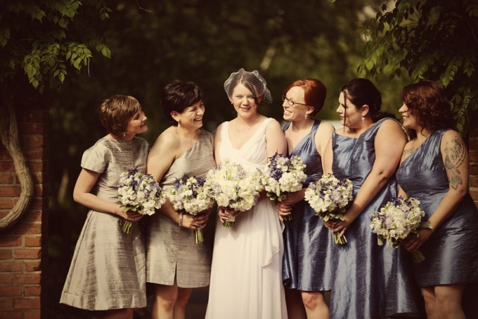 17. Chicago Botanic Garden Wedding. Life on Prints. Sweetchic Events. Exquisite Designs. White and Blue Bouquets accented with Dusty Miller. White Peonies, Blue Muscari.