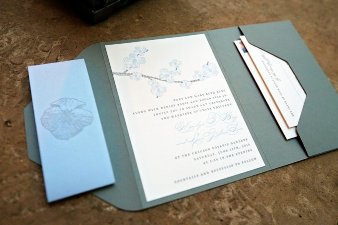 2. Chicago Botanic Garden Wedding. Life on Prints. Sweetchic Events. Shades of Blue and White Invitations.