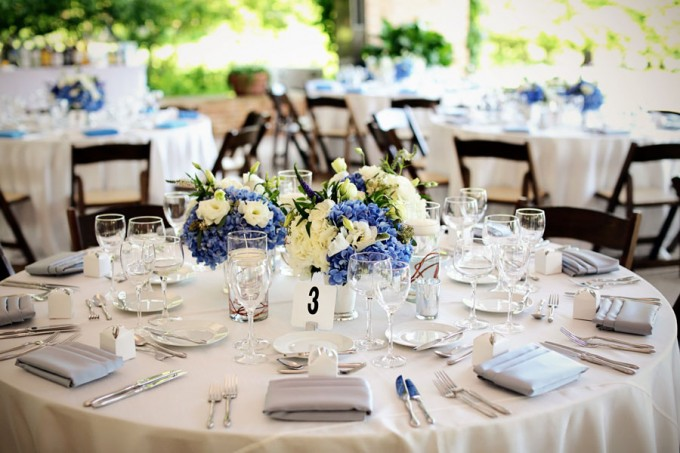 20. Chicago Botanic Garden Wedding. Life on Prints. Sweetchic Events. Exquisite Designs Low Centerpiece arrangement with blue and white hydrangea with accents of blue.