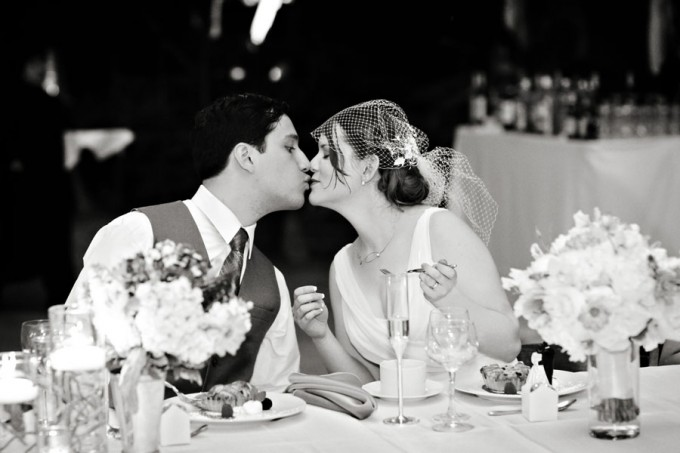 27. Chicago Botanic Garden Wedding. Life on Prints. Sweetchic Events. Kiss at Table.